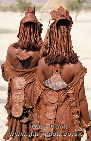 Goatskin clothes and braided hair, Himba Women, Namibia